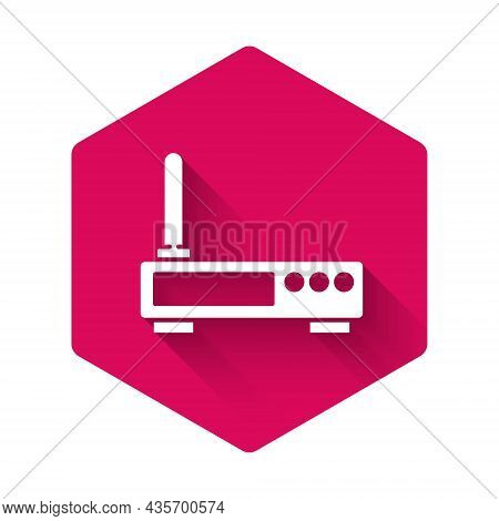 White Router And Wi-fi Signal Icon Isolated With Long Shadow. Wireless Ethernet Modem Router. Comput