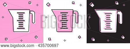 Set Measuring Cup To Measure Dry And Liquid Food Icon Isolated On Pink And White, Black Background.