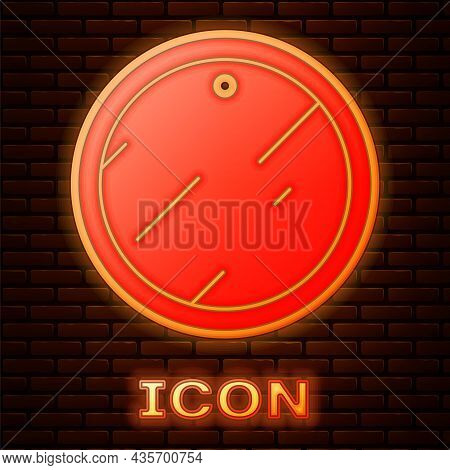 Glowing Neon Cutting Board Icon Isolated On Brick Wall Background. Chopping Board Symbol. Vector