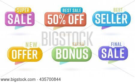 Sale Sticker Set With Special Offer On Speech Bubble Design. Color Badge Advertising Discount With S
