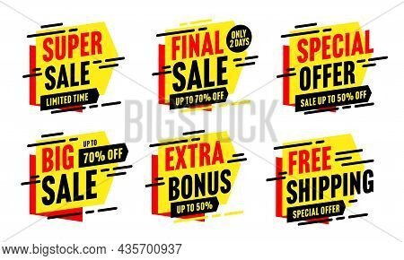 Super Big Sale, Free Shipping, Final Sale, Extra Bonus Special Offer. Discount Sticker With Up To 50