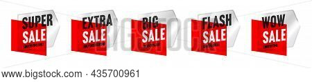 Sale Tag With Special Offer Wow Discount On Weekend Set. Retail Shopping Sale Pricing Badge Template
