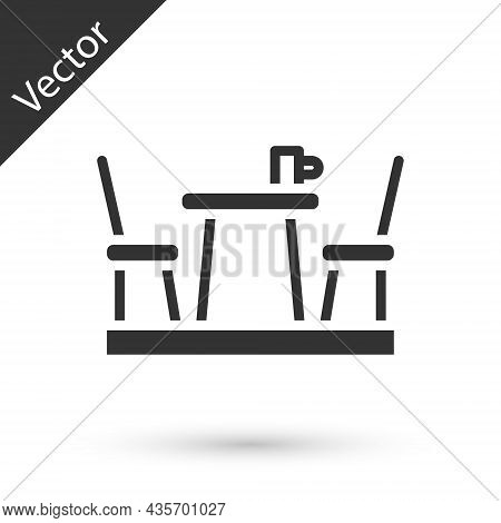Grey French Cafe Icon Isolated On White Background. Street Cafe. Table And Chairs. Vector