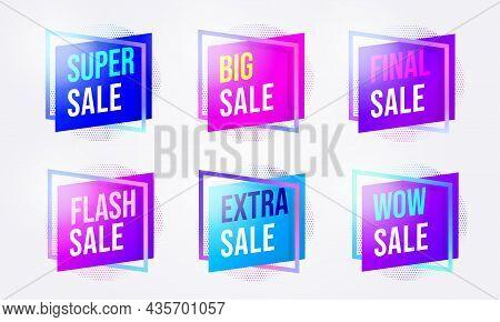 Sale Promotion Badge Sticker For Marketing Campaign Set. Super, Big, Final, Flash, Wow, Extra Sale T