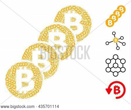 Vector Bitcoin Coin Blockchain Composition Is Composed With Scattered Recursive Bitcoin Coin Blockch