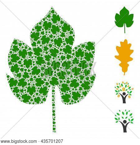 Vector Grapes Leaf Fractal Is Made From Randomized Recursive Grapes Leaf Pictograms. Fractal Collage