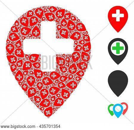 Vector Clinic Map Pointer Collage Is Organized From Scattered Fractal Clinic Map Pointer Pictograms.
