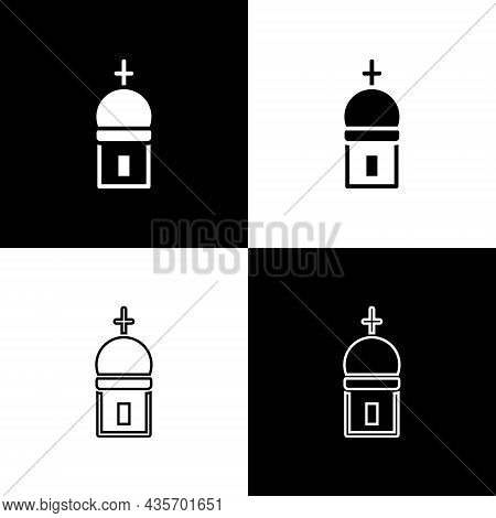 Set Christian Church Tower Icon Isolated On Black And White Background. Religion Of Church. Vector