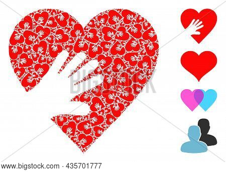 Vector Hand Touch Heart Mosaic Is Formed From Randomized Fractal Hand Touch Heart Elements. Fractal