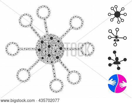 Vector Node Links Fractal Is Designed Of Repeating Fractal Node Links Parts. Fractal Mosaic Of Node
