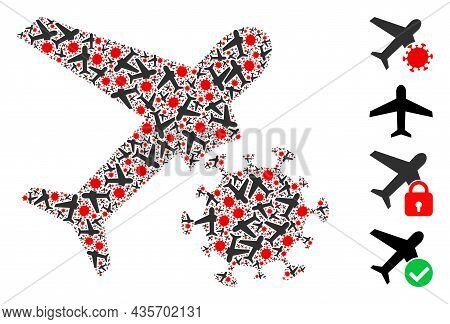 Vector Infected Airplane Mosaic Is Done With Random Fractal Infected Airplane Elements. Fractal Coll