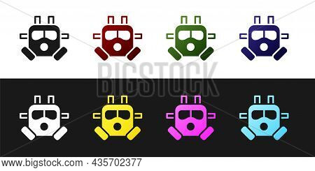 Set Gas Mask Icon Isolated On Black And White Background. Respirator Sign. Vector
