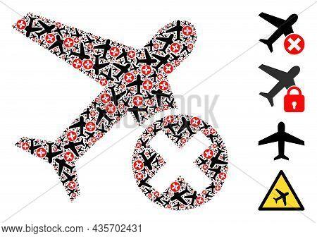 Vector Closed Airplane Fractal Is Organized Of Random Recursive Closed Airplane Pictograms. Recursiv