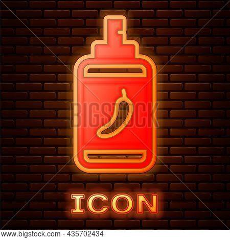 Glowing Neon Pepper Spray Icon Isolated On Brick Wall Background. Oc Gas. Capsicum Self Defense Aero
