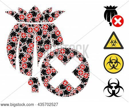 Vector Forbid Poppy Fractal Is Created From Repeating Fractal Forbid Poppy Pictograms. Fractal Mosai
