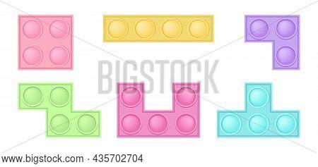 Set Of Popit Bricks - Trendy Silicon Fidget Toys. Antistress Addictive Toy For Fidget In Pastel Colo