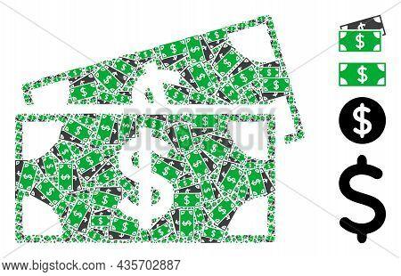 Vector Dollar Banknotes Collage Is Made From Random Recursive Dollar Banknotes Pictograms. Recursion