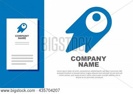 Blue Comet Falling Down Fast Icon Isolated On White Background. Logo Design Template Element. Vector