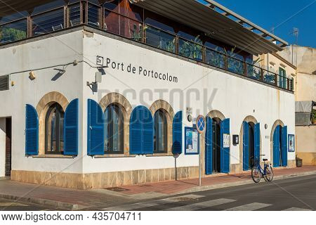 Portocolom, Spain; October 05 2021: Building Of The Port Authority Of The Majorcan Town Of Portocolo