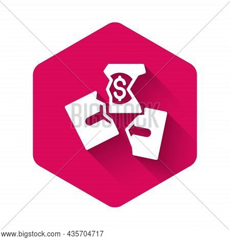 White Tearing Apart Money Banknote Into Three Peaces Icon Isolated With Long Shadow Background. Pink