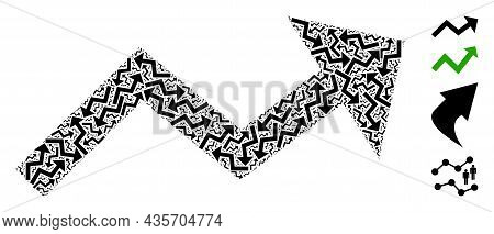 Vector Growing Trend Arrow Composition Is Constructed From Scattered Fractal Growing Trend Arrow Par