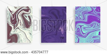 Three Paintings With Marbling. Vector Colorful Fluid. Marble Texture For Poster, Brochure, Invitatio