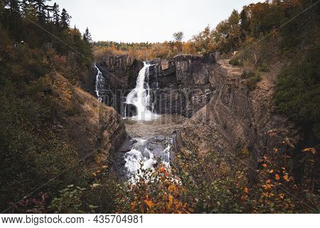 High Falls Waterfall In Grand Portage State Park In The Fall Autumn Season