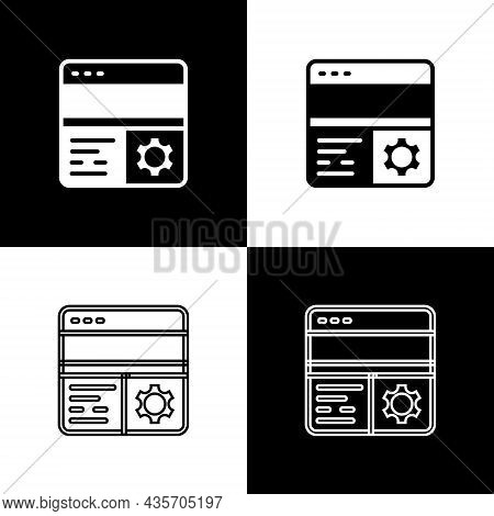 Set Debugging Icon Isolated On Black And White Background. Debugging Tool. Magnifying Glass On Bug P