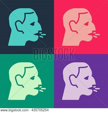 Pop Art Man Coughing Icon Isolated On Color Background. Viral Infection, Influenza, Flu, Cold Sympto