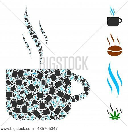 Vector Hot Tea Cup Fractal Is Created From Scattered Fractal Hot Tea Cup Elements. Fractal Mosaic Fr
