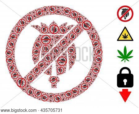 Vector Forbid Opium Poppy Mosaic Is Composed From Scattered Recursive Forbid Opium Poppy Pictograms.