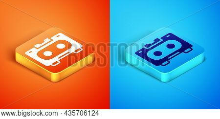Isometric Retro Audio Cassette Tape Icon Isolated On Orange And Blue Background. Vector