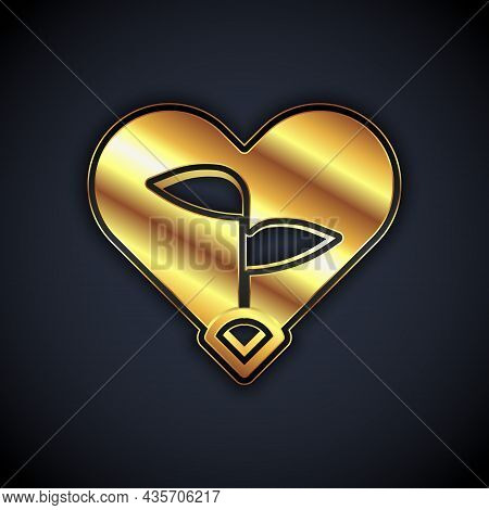 Gold Leaf In Heart Of Environmental Protection Icon Isolated On Black Background. Seed And Seedling.