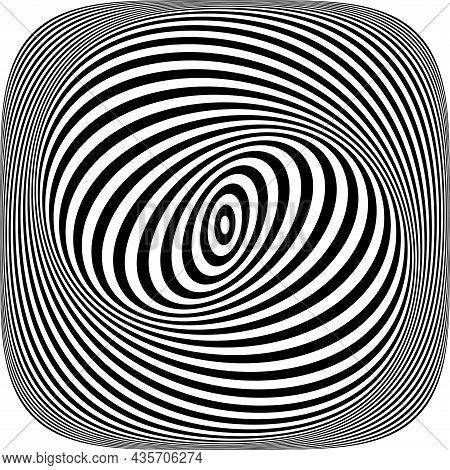 Illusion Of Swirl Spiral Vortex Movement In Op Art Pattern. Lines Texture. Vector Illustration.