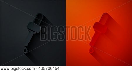 Paper Cut Pipette With Oil Icon Isolated On Black And Red Background. Organic Aromatherapy Essence.