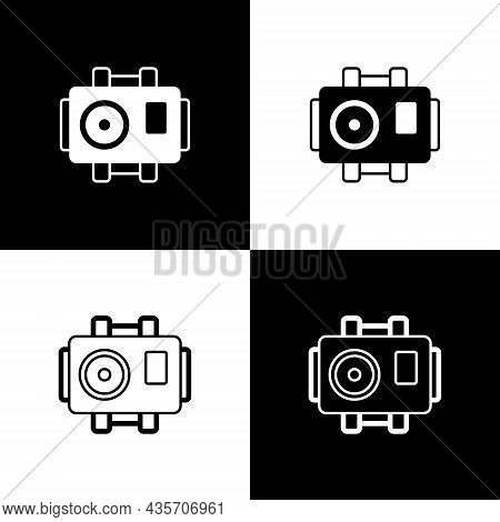 Set Photo Camera For Diver Icon Isolated On Black And White Background. Foto Camera Icon. Diving Und