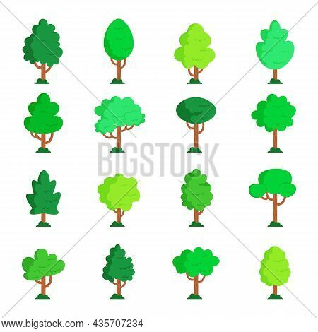 Flat Trees. Cute Landscape Cartoon Wood Silhouette. Vector Forest Shape.