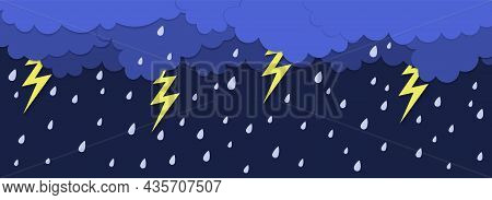 Rainy Wheather. Thunderbolt And Rain Water Drops. Paper Cut Vector Template