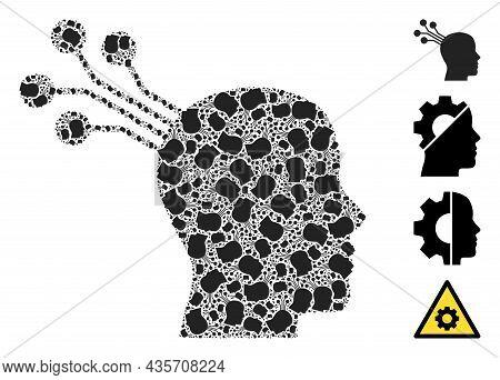 Vector Brain Machine Interface Fractal Is Organized Of Random Fractal Brain Machine Interface Icons.