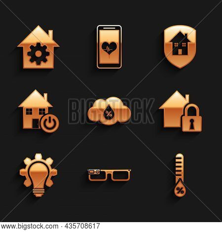 Set Humidity, Smart Glasses, House Under Protection, Light Bulb And Gear, Home, And Settings Icon. V