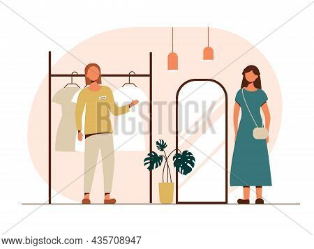 People Shopping Flat Vector Illustrations Set. A Salesperson In A Clothing Store Offers A Customer T