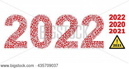 Vector 2022 Year Digits Fractal Is Composed Of Randomized Recursive 2022 Year Digits Parts. Fractal