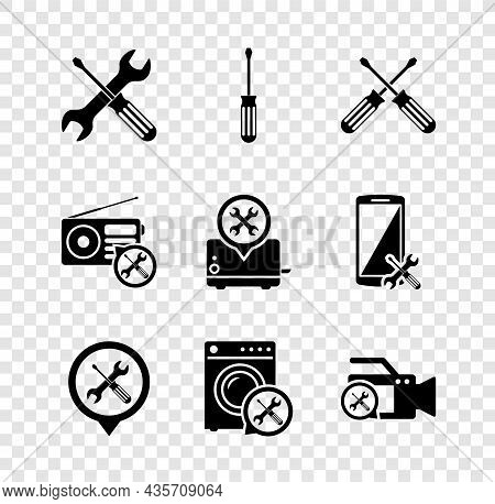 Set Crossed Screwdriver And Wrench, Screwdriver, Screwdrivers, Location Service, Washer, Video Camer