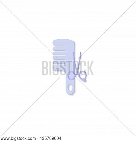 Comb And Scissors. Hairdresser Tools Isolated Illustration. Comb And Scissors Flat Icon On White Bac