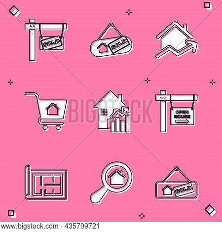 Set Hanging Sign With Sold, Rising Cost Of Housing, Shopping Cart House, Open, House Plan And Search