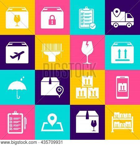 Set Warehouse, Cardboard Box Traffic, Verification Of Delivery List, Scanner Scanning Bar Code, Plan