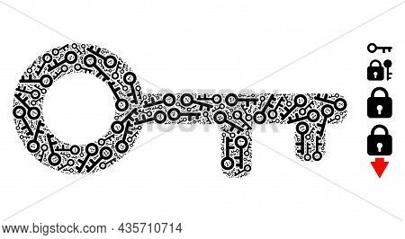 Vector Key Mosaic Is Done Of Scattered Fractal Key Items. Fractal Mosaic From Key.