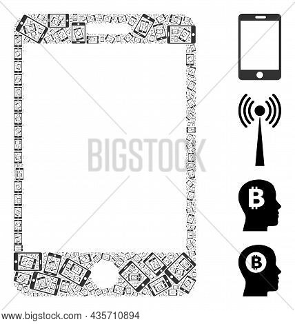 Vector Smartphone Collage Is Constructed From Random Fractal Smartphone Pictograms. Fractal Collage