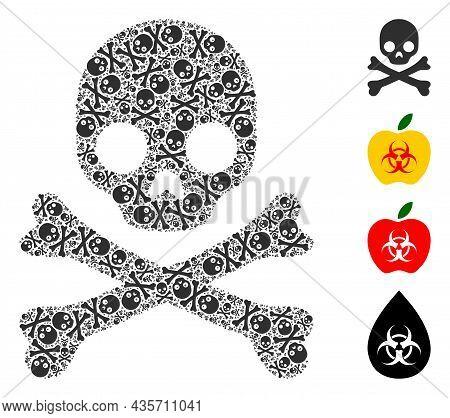 Vector Death Skull Fractal Is Organized Of Randomized Fractal Death Skull Parts. Fractal Composition