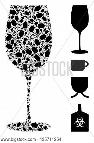 Vector Wine Glass Collage Is Created From Randomized Recursive Wine Glass Pictograms. Recursion Coll